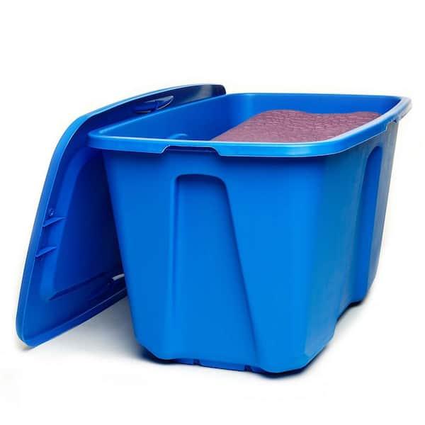 Homz 32 Gal Large Storage Bin In Blue, Home Depot Storage Baskets