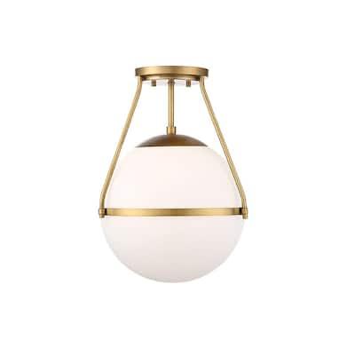 1-Light Natural Brass Semi-Flush Mount with White Opal Glass