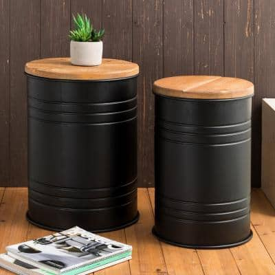 Metal Storage Accent Table or Stool with Solid Wood Lid(Set of 2)