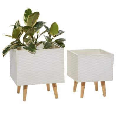 15 in. and 18 in. White Textured Square Fiberclay Planters (Set of 2)
