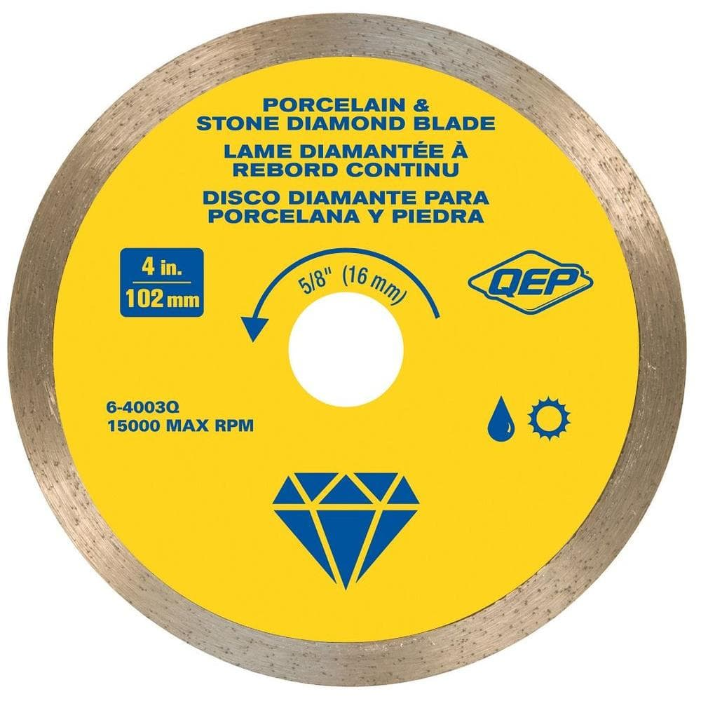 qep 4 in premium diamond blade for wet or dry cutting porcelain and ceramic tile 6 4003q the home depot