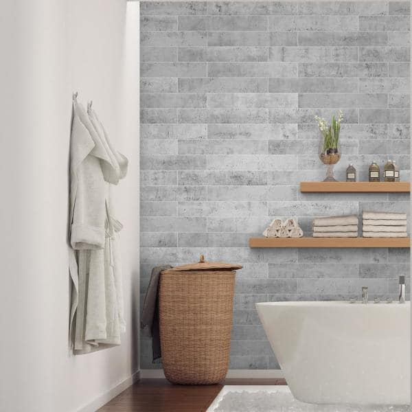 Smart Tiles Norway Alta 22 56 In W X 11 58 In H Grey Peel And Stick Self Adhesive Mosaic Wall Tile Backsplash 2 Pack Sm1147m 02 Qg The Home Depot