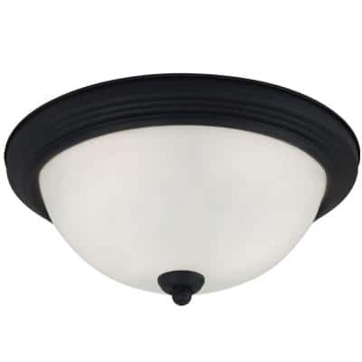 2-Light Blacksmith Ceiling Flush Mount with Inside White Painted Etched Glass