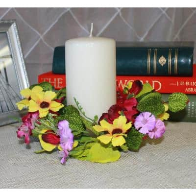 4.25 in. Red and Yellow Pansy Candle Ring (Set of 2)