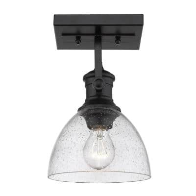 Hines 7 in. Black with Seeded Glass 1-Light Semi-Flush Mount