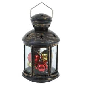 10-Light Red, Green and Blue Round LED Lantern with String Light