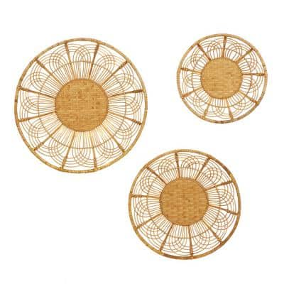 24 in. x 24 in. Brown Metal Boho Style Wall Decor (Set of 3)