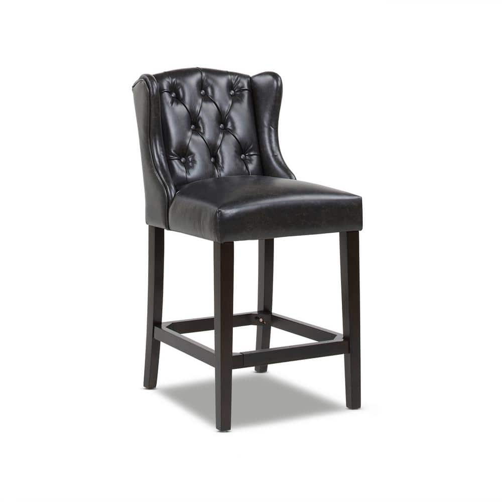Jennifer Taylor Richmond 26 In Armless Wingback Tufted Counter Height Bar Stool Vintage Black Brown Faux Leather 81101 Mfb The Home Depot