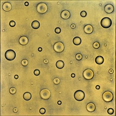 Bubbles 1.6 ft. x 1.6 ft. Glue Up Foam Ceiling Tile in Antique Brass