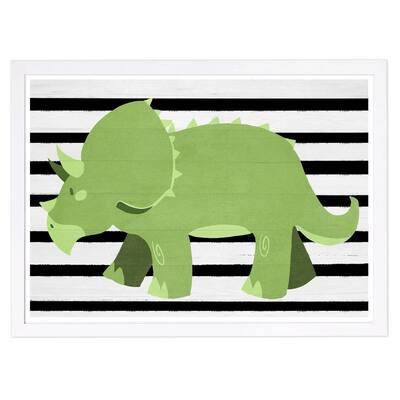 Folk Triceratops' Framed Animal Art Print 13 in. x 19 in.