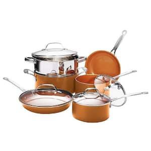 10-Piece Copper Non-Stick Ti-Ceramic Round Cookware Set with Lids