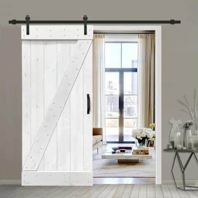 30 in. x 84 in. Z Series White Stained Solid Knotty Pine Wood Interior Sliding Barn Door with Hardware Kit and Handle