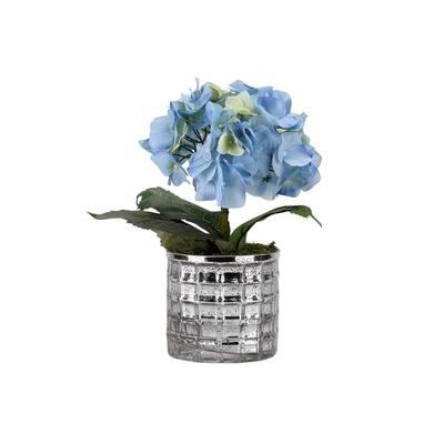 Indoor Blue Hydrangea in Round Mirrored Glass Vase