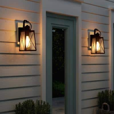 Craftsman 1-Light Classic Farmhouse Matte Black Outdoor Wall Lantern Sconces with Seeded Glass Shades (2-Pack)