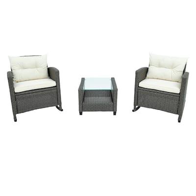 Gray 3-Piece Patio Outdoor Rocking Chairs Set Wicker Rattan Rocker with Beige Cushions