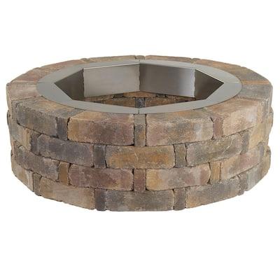 RumbleStone 46 in. x 14 in. Round Concrete Fire Pit Kit No. 2 in Sierra Blend with Round Steel Insert