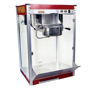 Theater Pop 12 oz. Red Stainless Steel Countertop Popcorn Machine