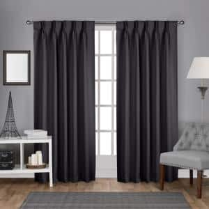 Charcoal Thermal Pinch Pleat Blackout Curtain - 30 in. W x 84 in. L (Set of 2)