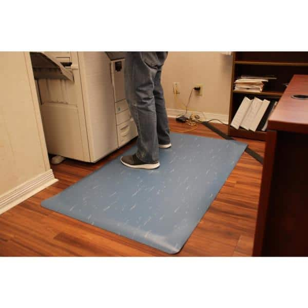 Rhino Anti Fatigue Mats Marbleized Tile Top Anti Fatigue Blue 4 Ft X 58 Ft X 1 2 In Vinyl Commercial Mat Tt R48blx58 The Home Depot