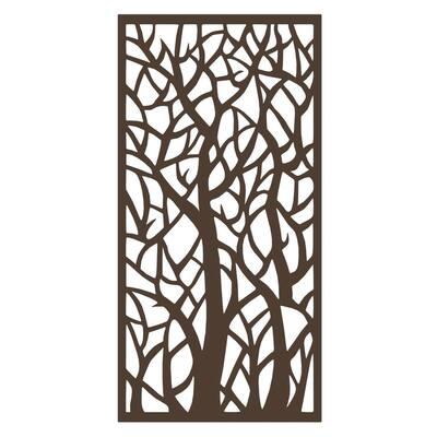 36 in. W x 72 in. H Woodland Steel Decorative Screen Panel in Rust