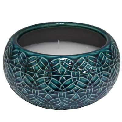 8 in. Blue Rivage Multi-Wick Ceramic Citronella Candle