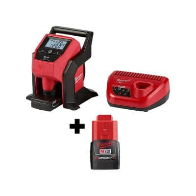 M12 12-Volt Lithium-Ion Cordless Compact Inflator Kit with 4.0 Ah Battery, Charger and Bonus 2.0 Ah Battery Pack