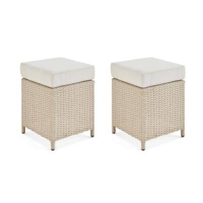 Canaan Brown All-Weather Wicker Outdoor Square Ottoman with Cream Cushion (Set of 2)