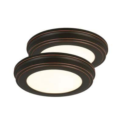 11 in. Oil Rubbed Bronze Color Changing LED Ceiling Flush Mount (2-Pack)