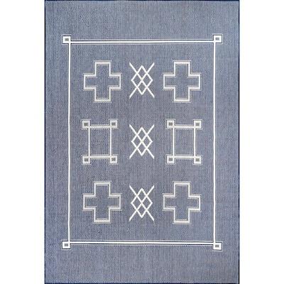 Hillary Geometric Tribal Indoor/Outdoor Navy 5 ft. x 8 ft. Area Rug
