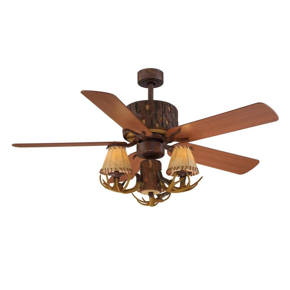 Hampton Bay Lodge 52 In Led Nutmeg Ceiling Fan With Light And Remote Control Yg098b Nm The Home Depot