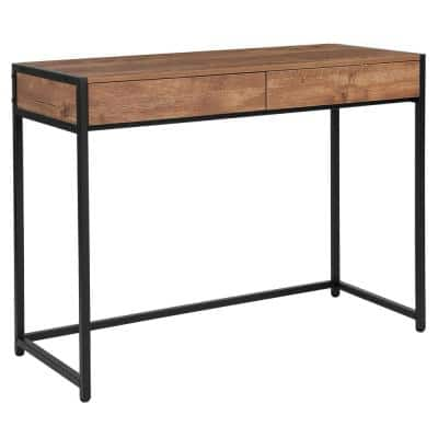 39.5 in. Rectangular Rustic 2 Drawer Writing Desks with Built-In Storage