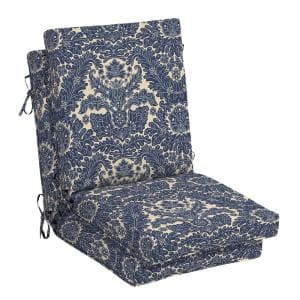 21 in. x 24 in. Chelsea Damask Outdoor High Back Dining Chair Cushion (2-Pack)