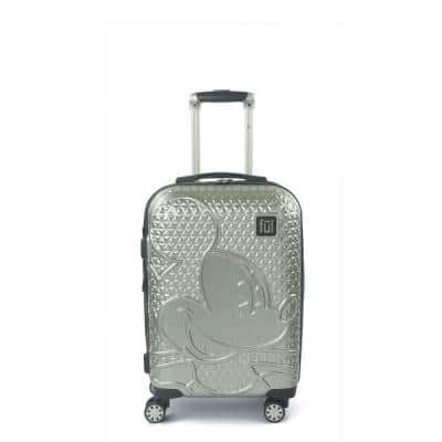 Disney Textured Mickey Mouse 21 in. Silver Hard-Sided Rolling Luggage