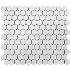 Metro Hex Matte White 10-1/4 in. x 11-7/8 in. x 5 mm Porcelain Mosaic Tile (8.65 sq. ft. /Case)