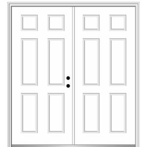 64 in. x 80 in. Left-Hand Inswing Classic 6-Panel Primed Steel Prehung Front Door with Brickmould