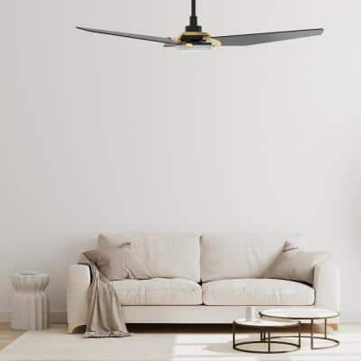 Brently 52 in. Dimmable LED Indoor/Outdoor Black Smart Ceiling Fan with Light and Remote, Works w/ Alexa/Google Home