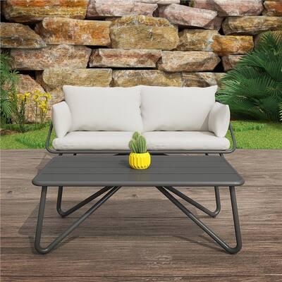 Novogratz Poolside Gossip Teddi 2-Piece Metal Patio Conversation Set with Gray Cushions