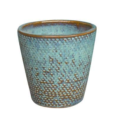 Peyton 11.8 in. x 11.4 in. Blue Patina Ceramic Pot