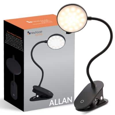 17.91 in. Black LED Clamp Light with USB-C Charging Port
