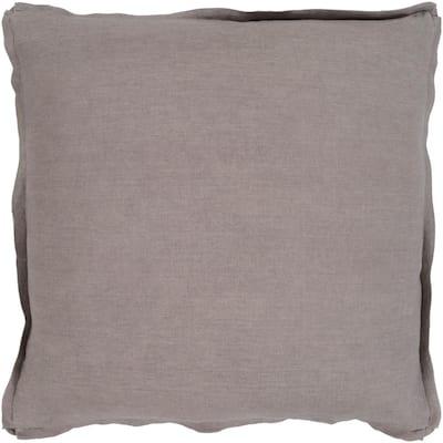 Zevgari Brown Solid Polyester 18 in. x 18 in. Throw Pillow