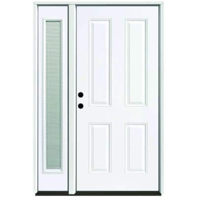 53 in. x 80 in. 4-Panel Primed White Right-Hand Steel Prehung Front Door with 14 in. Mini Blind Sidelite 4 in. Wall