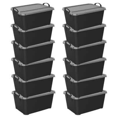 Locking Stackable Closet and Storage Box 55 Qt. Containers, (12-Pack)