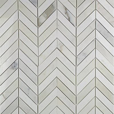 Dart Calcutta and Thassos 10-3/4 in. x 10-3/4 in. x 10 mm Polished Marble Mosaic Tile
