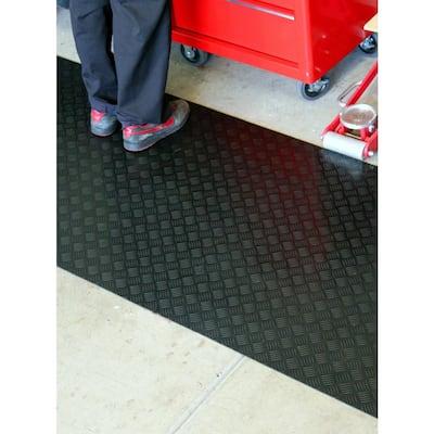 Black 3 ft. x 15 ft. Black Commercial/Residential Rubber Garage Floor Matting
