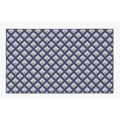 Modern Living Room with Nonslip Backing, Geometric Gray and Blue Trellis Pattern, 4 ft. x 6 ft. Small Area Rug