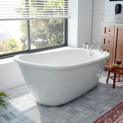 Seneca 60 in. L x 32 in. W Fiberglass Freestanding Flatbottom Soaking Bathtub in White