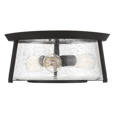 16 in. 3-Light English Bronze Flush Mount with Clear Seeded Glass