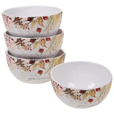 Harvest Splash 4-Piece Country/Cottage Multi-Colored Earthenware 26 oz. Ice Cream Bowl Set (Service for 4)