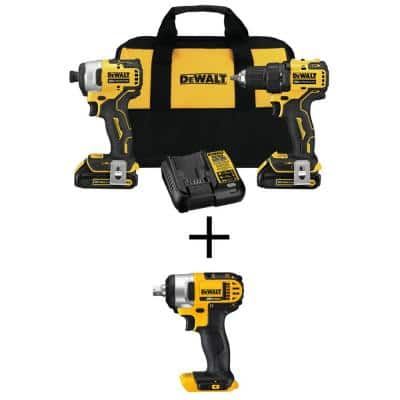 ATOMIC 20-Volt MAX Cordless Brushless Compact Drill/Impact Combo Kit (2-Tool)w/20-Volt 1/2 in. Impact Wrench(Tool-Only)