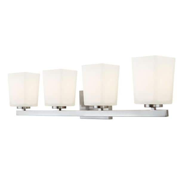 Canarm Hartley 4 Light Brushed Nickel Vanity Light With Flat Opal Glass Ivl472a04bn The Home Depot